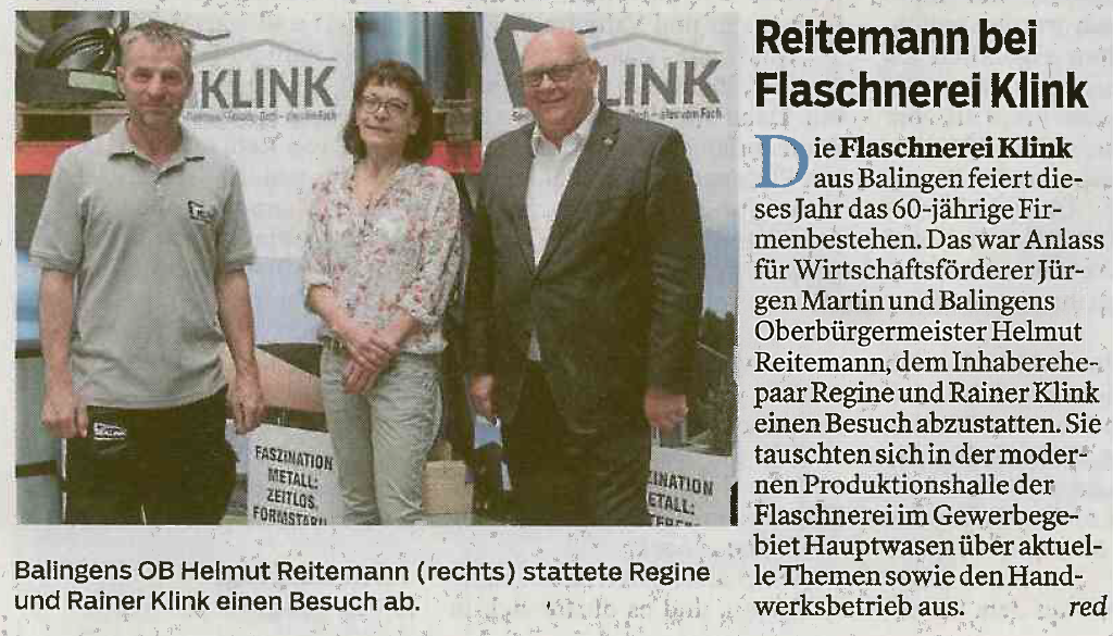 OB Reitemann zu Besuch 60-jähriges Jubiläum Flaschnerei Klink